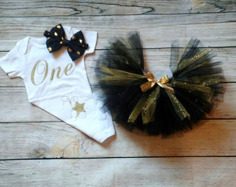 1st Birthday Girl Outfit, Girls First Birthday Outfit Birthday Outfit Black Gold Cake Smash Photo Prop Personalize Customize