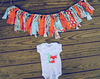 HighchairBanner,Birthday,Garland,Bodysuit  Outfit SetFOX 1ST BIRTHDAY Woodland RagTie,Scrappy Fabric Banner, Cake Smash,Photo Prop