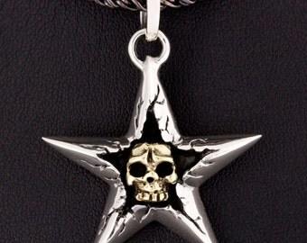 Gold Skull in Star Pendant 925 Sterling Silver Necklace Gothic Biker Rocker Jewelry