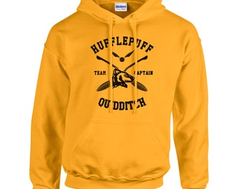 CAPTAIN - Huffle Quidditch team Captain Black print printed on Gold/Yellow Hoodie