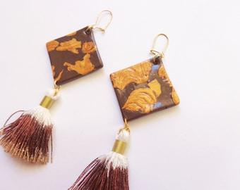 Brown Gold Rhombus Tassel Earrings, Geomentric Fringe Earrings, Dangle Earrings, Polymer Clay Jewelry, Gift For Her, Statement Earrings