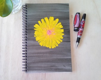 Hand Painted Spiral Journal; FREE SHIPPING; Original Art on Wire Bound Blank Notebook; Writing, Sketching; Hellen Keller; with the heart