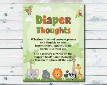 Diaper Thoughts Printable Sign, Safari Baby Shower Diaper Thoughts Game, Write On A Diaper Game, Words For Wee Hours, Late Night Diapers