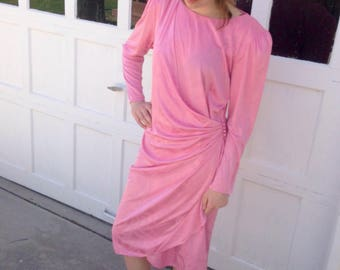 Vintage 80s 90s Pink Ruffle Dress // Pretty in Pink Shoulder Pad Dress // Pink 90s Dress