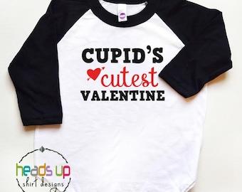 Cupid's Cutest Valentine Raglan Shirt - Toddler Boy/Girl Valentine's Day Tee - Valentine's Day Baby Shirt Boy/Girl - Kids Valentine Trendy