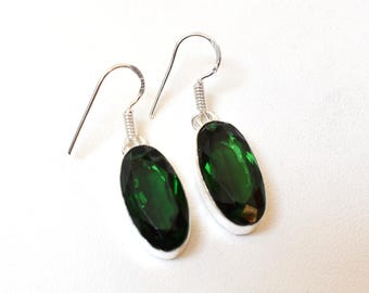 Green Tourmaline Quartz Dangle Earrings - 925 Sterling Silver Earrings -  Tourmaline hydro Dangle Earrings - Women Dangle Earrings