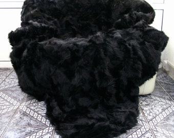 Luxury genuine opossum fur throw, blanket, black, size 220cm x 200cm, i452