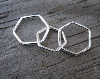 Mama metal / modular jewelry Honeycomb hexagon fine silver centerpiece // made to order