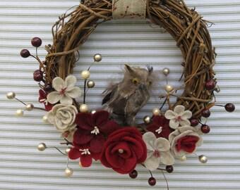 Owl Wreath, Owl Grapevine Wreath, Felt Flower Wreath, Woodland Owl Wreath, Rustic Owl Wreath