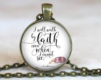 Bible Verse Pendant in antique gold, 24 inch chain, 2 Corinthians 5:4