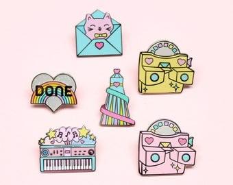 Any 5 Pins - Cute enamel pin set   pin set   pin gift   pin collection   retro pins   cute pins   pastel gift   pastel pin set