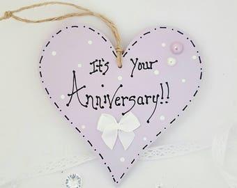 Anniversary gift. Anniversary heart. Lilac heart. Small gift. Handmade gift. Gift tag. Anniversary tag. Happy anniversary. Keepsake gift.