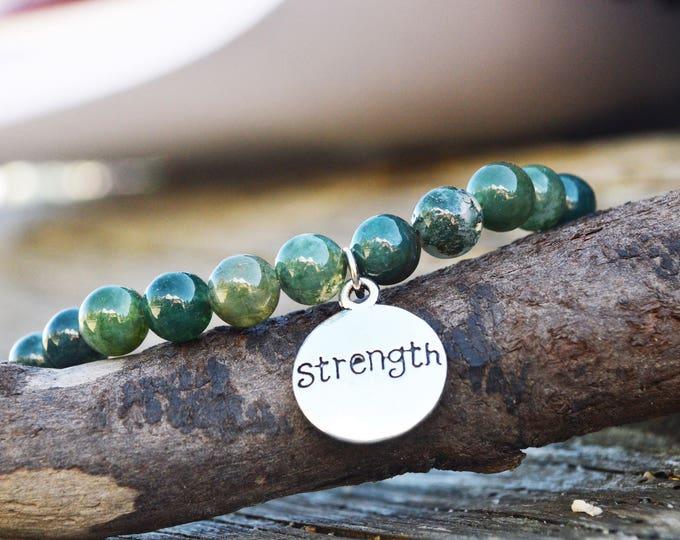 Moss agate natural gemstone bracelet - yoga lover bracelet