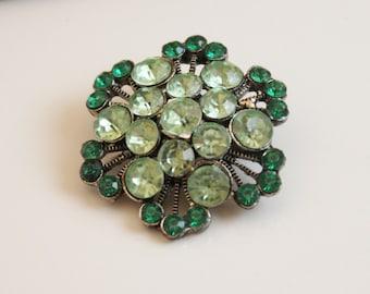 Vintage Peridot and Emerald Rhinestone Brooch - B76