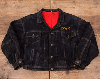"Mens Vintage Diesel Quilt Lined Embroidered Suede Leather Jacket L 46"" R5096"