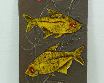 vintage krösselbach WALLTILE yellow fishes 1960s wall panel midcentury