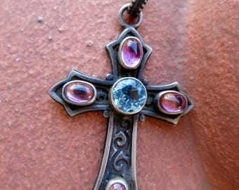 Spectacular Colors Cross by Kit Carson, Blue Topaz & Pink Tourmaline, Signed, Sterling