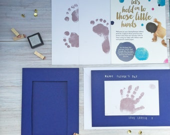 Personalised father's day footprint handprint card | Create your own father's day card | Father's day card | Footprint father's day card |UK
