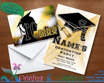 Gold Silhouette Graduation Invitation; Folded Card; Postcard; PDF; E-Card
