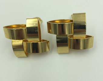 Gold Tone Square Design Bow Clip on Earrings  BUY 3 Get 1 FREE
