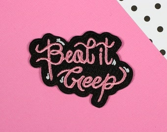 Beat It Creep Iron On Woven Patch // patchgame, embroidered patch // PT022