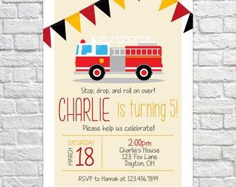 Printable Fire Truck Invitation, Birthday Party Invitation, Fire Truck Birthday, Fireman party, Boys Birthday, Birthday Invite, Firetruck