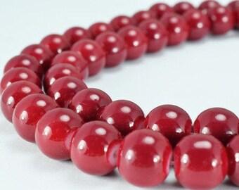 Dark Red Glass Beads Round 10mm Shine Round Beads For Jewelry Making Item #789222045784