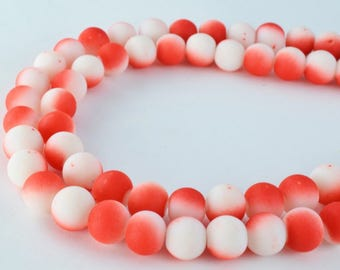 Glass Beads Matte Red White Two Tone Rubber Over Glass Size 10mm Round For Jewelry Making Item#789222046033