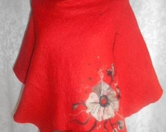 Poncho felt, merino wool, red, gersimifelt