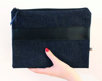 Denim clutch with leatherette applications - dress time C01 - Jeans Clutch, jeans pocket, A5 bag, Christmas gift, gifts for her