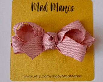 Twisted Double Bow in Sweet Nectar Neutral Pink, Neutral Colored hair accessories, neutral baby bow, neutral toddler bow, neutral girl bow