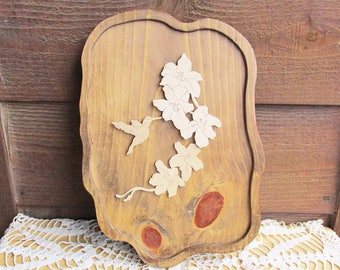 Wood Wall Art, Hummingbird Carved Wood Plaque, Wildlife Art, Wood Grain Decor, Vintage Home Decor, Mothers Day Gift