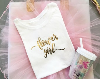 Flower Girl T-shirt - Scoop Neck- Personalized Gifts - Bridal Party Gifts