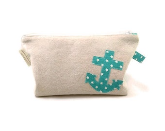 Makeup pouch - pencil - case - anchor - linen - Aqua cases - Turquoise - stars - storage
