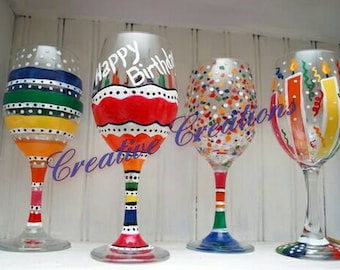 Set of 4 Happy birthday wine glasses