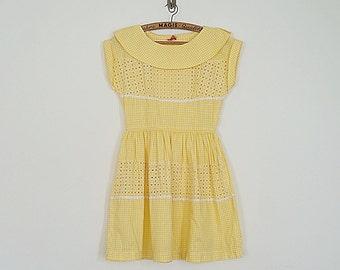 Vintage 50s yellow gingham mini babydoll dress // Size XS