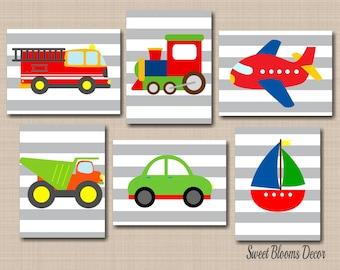 Transportation Wall Art,Trucks Wall Art,Playroom Wall Art,Transportation Nursery Decor,Cars Planes Trains Trcuks Wall Art-UNFRAMED 6 C296