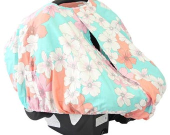 15% OFF SALE - Lola's Floral | Coral and Aqua Car Seat Canopy Cover