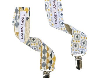 Graham's Golden Boy Pacifier Clips | Gray, Gold, Yellow, Tribal, Aztec,Cream Baby Paci Clips (set of 2)
