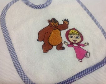 bib embroidery - masha and the bear