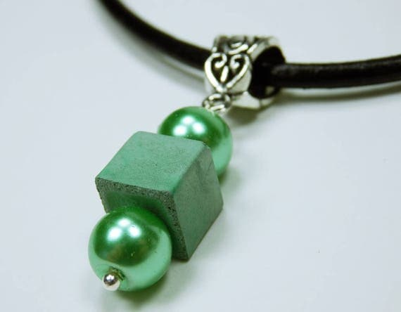 Necklace Green Small cube with pearls in metallic green-greenish concrete jewelry on black leather strap beads Concrete Jewelry