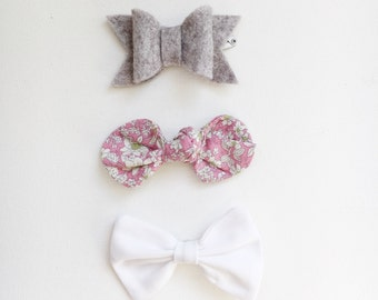 Three Bow Hair Clip Set