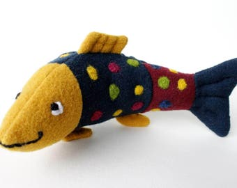 Fish    blue/yellow,spotted,handmade soft aquatic toy, sewed,felted,for Birthday,decoration