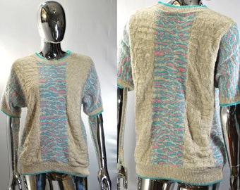 Pastel Leopard Print Knit Top   80s Cream / Off-White Colored Short Sleeve Spring Sweater. Pink & Blue Pattern. Women's Size Medium. Alberoy