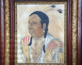 Oil on Board Original Portrait Native American Blackfoot Confederacy Blood Nation Chief Shot Both Sides 19th c. Frame Sgn Fred Simons 1939