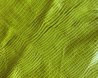 Green Leather / Chartreuse  Leather / Leather Remnant / Leather Scrap / Genuine Leather / Fashion Leather  / Leather Fabric