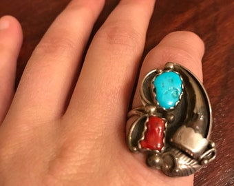Huge vintage Turquoise, coral, hawk claw sterling silver ring