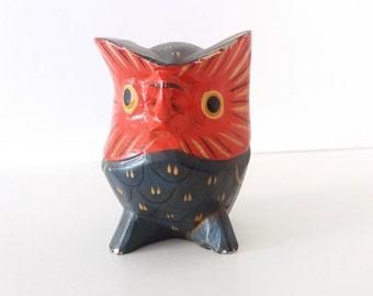 Vintage folk art hand carved wooden owl figurine