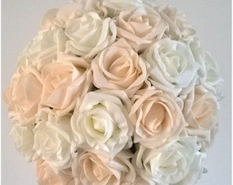 Bridal Bouquet - Vintage Peach and Ivory - Artificial Foam Roses - Wedding Flowers.