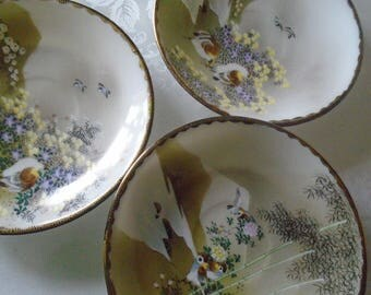 delicate egg shell porcelain hand painted saucers Japanese oriental designs